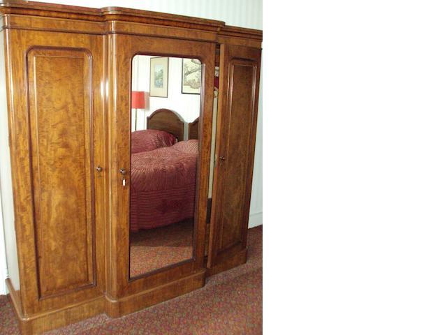 A late 19th century Victorian mahogany breakfront wardrobe