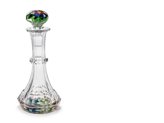 A St.Louis scent bottle with garlanded paperweight base and stopper, circa 1850
