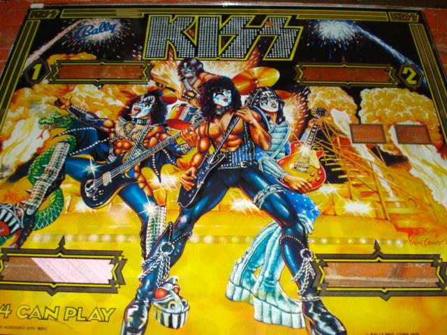 Kiss: a Bally pinball machine four-player scoreboard glass,