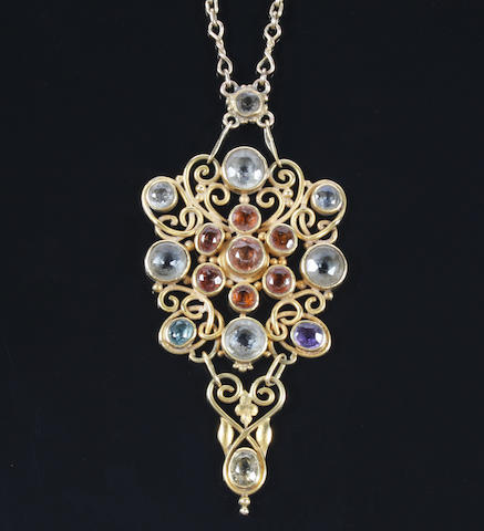 An Arts and Crafts gold and gem set necklace by Omar Ramsden Unmarked,