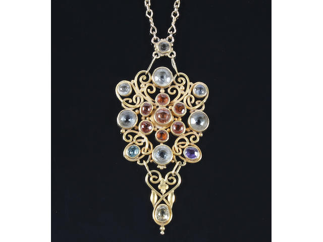 An Arts and Crafts gold and gem set pendant necklace by Omar Ramsden Unmarked,