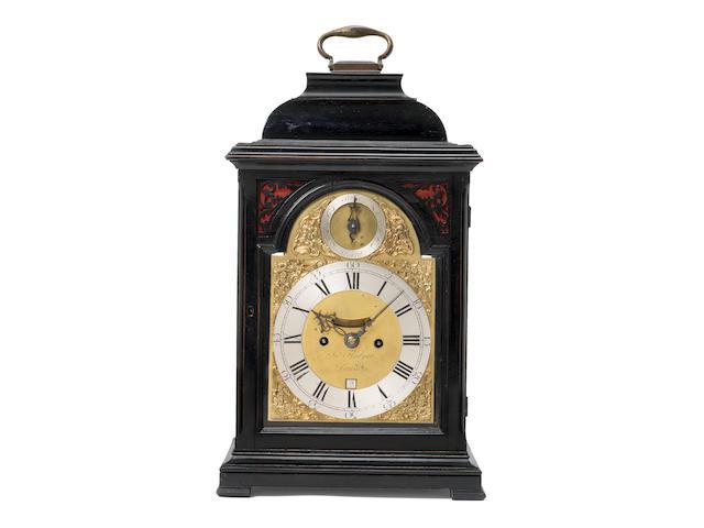 A third quarter of the 18th century ebonised bracket clock John Fladgate, London