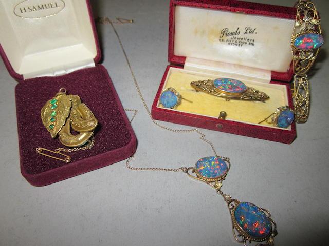 An Australian opal doublet suite of necklace, bracelet, earrings, brooch,  (6)