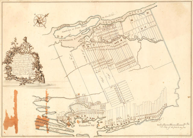 COLONIAL MASSACHUSETTS Plan of ye Town of Pownall, MANUSCRIPT MAP ON PAPER showing the plots laid out for Pownallborough lying between the Kennebec River and Wiscasset Bay