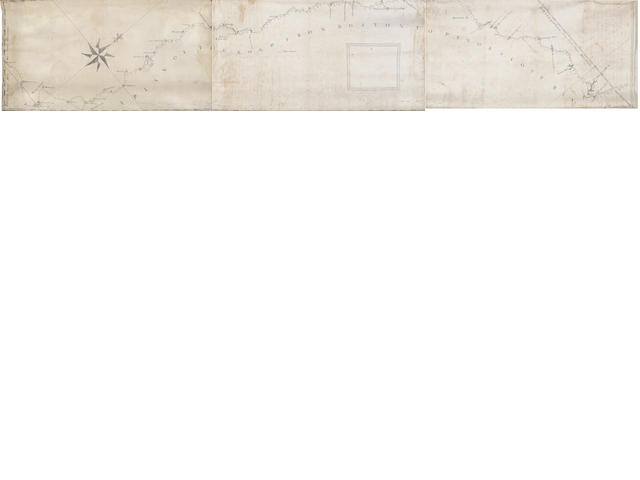 COLONIAL MASSACHUSETTS An untitled road map extending from Boston, east to St. George's Fort and Penobscot Bay, THREE-SHEET MANUSCRIPT MAP ON VELLUM