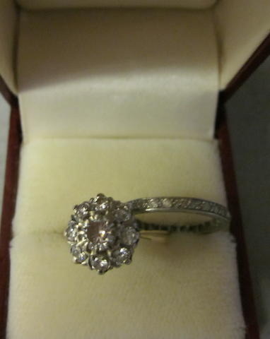 A diamond cluster ring, (2)