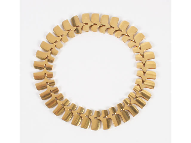 A Georg Jensen 18 carat gold necklace designed by Ibe Dalquist Numbered 1149B, with stamped marks and import marks for London, 1969,