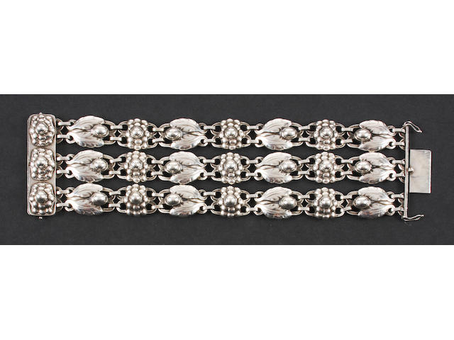 An early Georg Jensen bracelet Numbered 3, with stamped marks for 1933-44,
