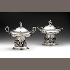 Two early 19th century German silver serving dishes/tureens, covers and liners, by Johann Georg Christoph Neuss, Augsburg 1821, also stamped Seethaler  (2)