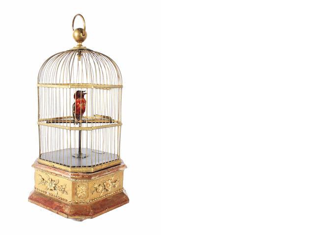 A singing bird-in-cage, by Phalibois, circa 1890,