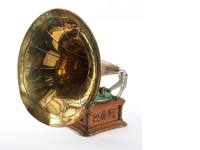 An HMV cockleshell gramophone, by The Gramophone Company Ltd.,