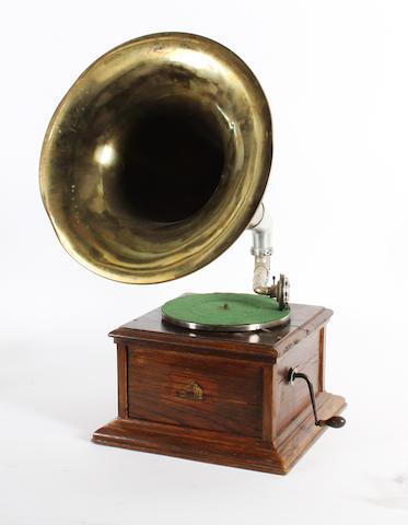 An HMV horn gramophone,