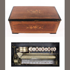 A 'Tambour et Timbres' musical box, playing twelve airs, circa 1880,