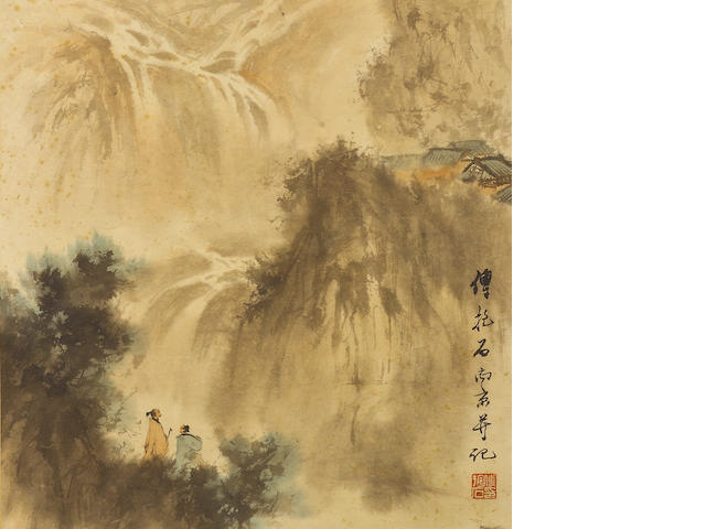 Fu Baoshi (1904-1965) Watching the Waterfall