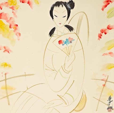 Lin Fengmian (1900-1991) Lady Holding a Fan