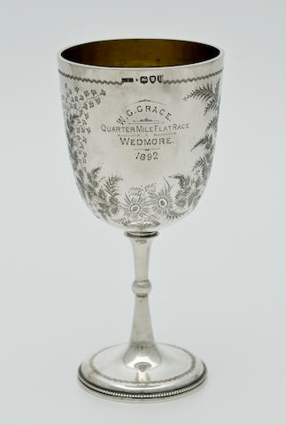 A silver trophy cup, presented to W.G.Grace