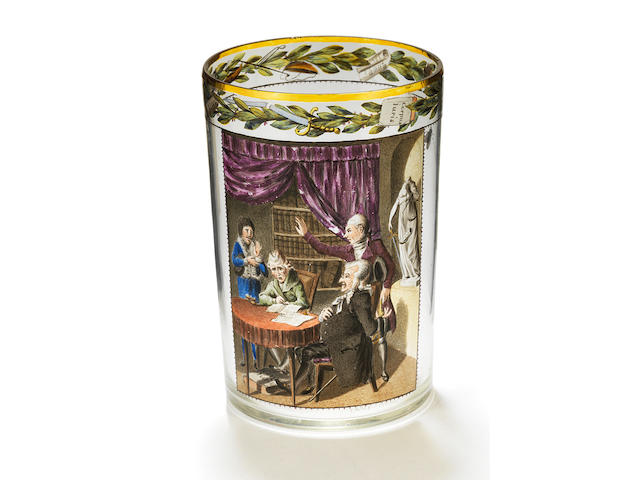 A Gottlob Samuel Mohn transparent enamelled Viennese beaker, dated 1812