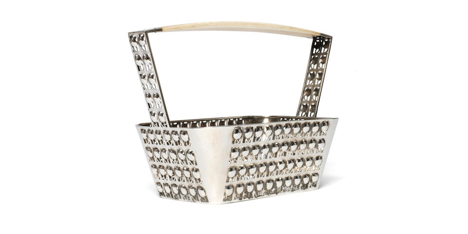 Josef Hoffmann for the Wiener Werkstätte A Fine Silver and Ivory 'Gitterkorb' Basket, circa 1910