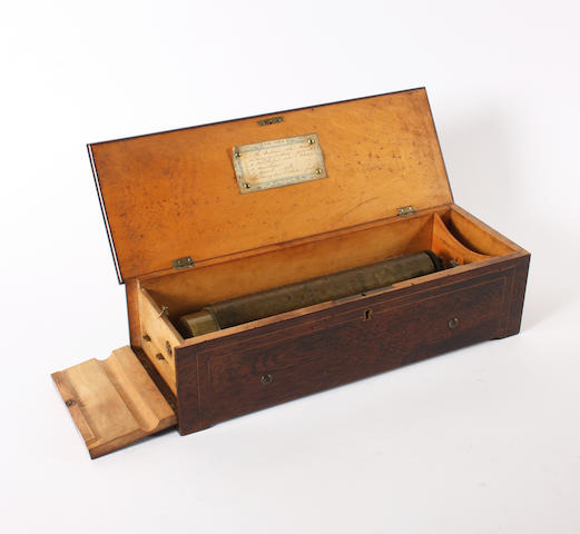 An early key-wind musical box, probably by Henriot, circa 1840,