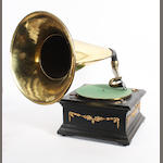 A horn gramophone, 1920 and later,