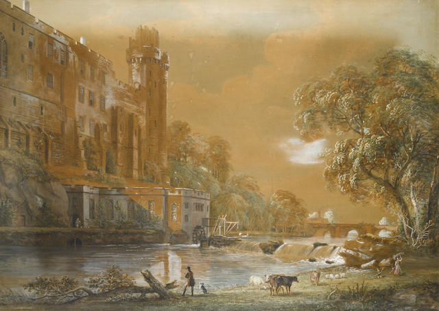 Paul Sandby, RA (British, 1730-1809) Warwick Castle from the River Avon