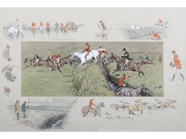 Charlie Johnson Payne, 'Snaffles' (British, 1884-1967) 'An Irish Point-to-Point.' 56.5 x 76.5cm Remounted and in a later Hogarth type frame.