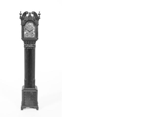 A 1920s, Chippendale style, mahogany small longcase clock