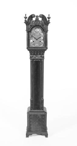 A 1920s, Chippendale style, mahogany small longcase clock
