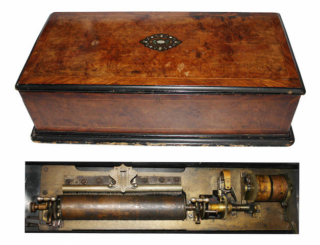 An interchangeable cylinder musical box, circa 1890,