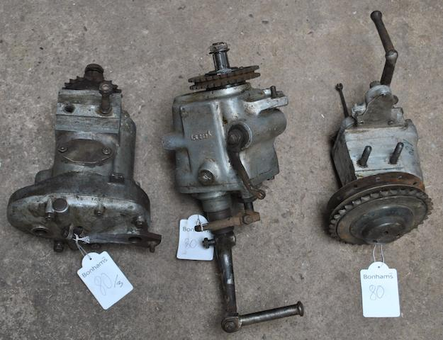 Three vintage gearboxes, (3)