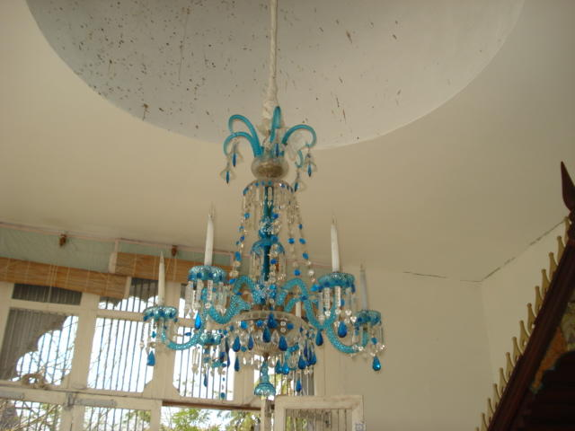 A Venetian blue glass six light chandelier