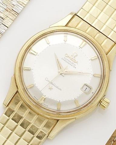 Omega. An 18ct gold automatic calendar bracelet watchConstellation, Movement No.19435464, Circa 1961