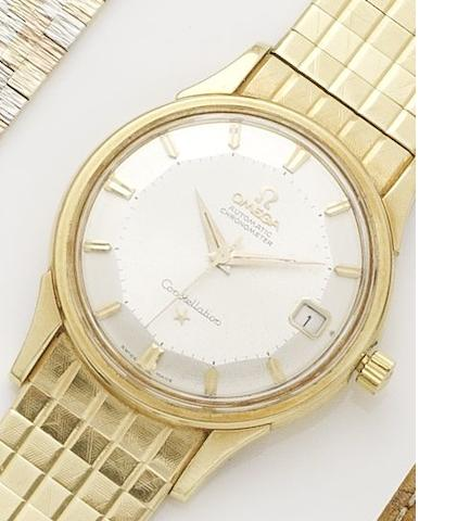 Omega. An 18ct gold automatic calendar bracelet watch Constellation, Movement No.19435464, Circa 1961