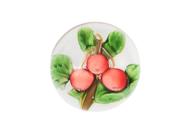 A small Pantin pink cherries paperweight