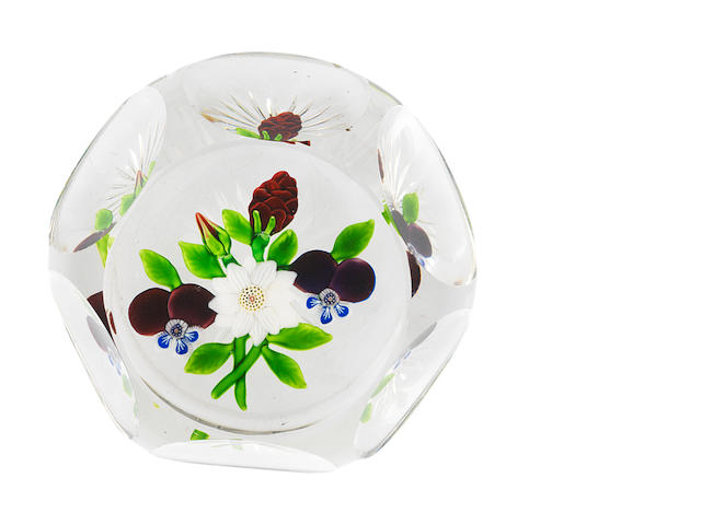 A Baccarat faceted flat bouquet paperweight, circa 1850