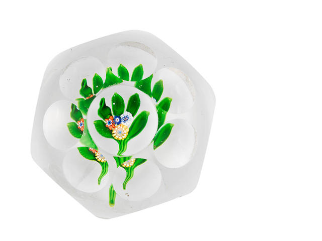A St. Louis faceted flat posy paperweight