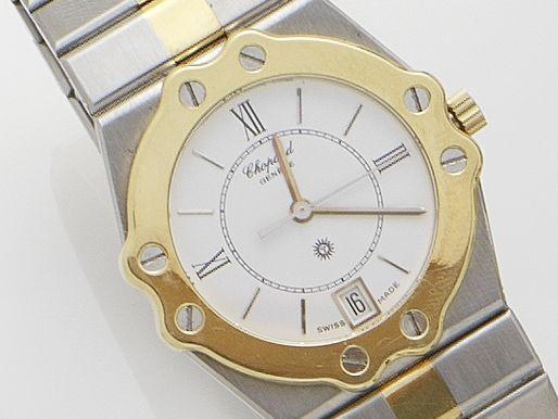 Chopard. A stainless steel and gold quartz calendar bracelet watch St. Moritz, Circa 1990's