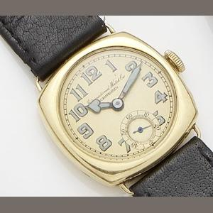 IWC. An 18ct gold manual wind wristwatchCase No.899371, Movement No.703070,
