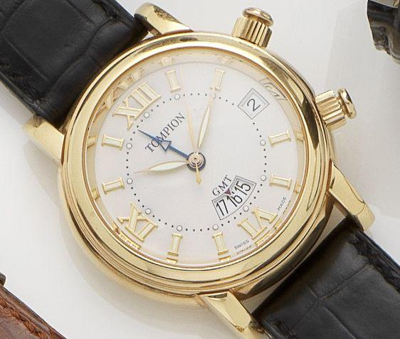 Graham. An 18ct gold automatic dual time alarm wristwatch Tompion, No.045