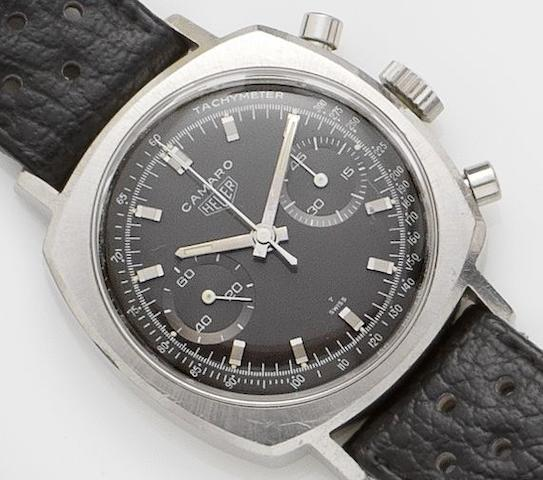 Heuer. A stainless steel manual wind chronograph wristwatchCamaro, Reference 99011, circa 1970's