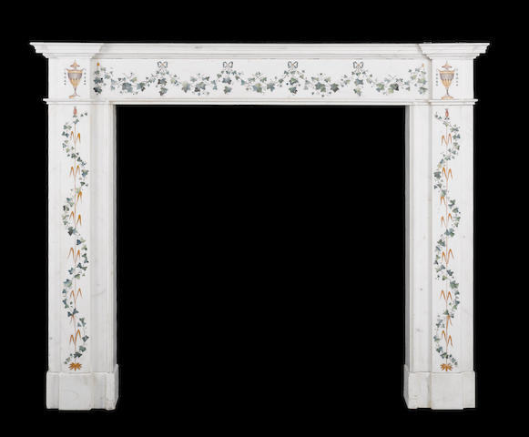 A George III Irish white statuary marble and scagliola chimney-piece in the manner of Pietro Bossi