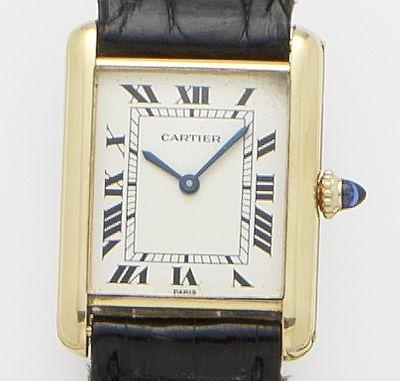 Cartier. An 18ct gold manual wind wristwatch  Tank. Case No.780861429