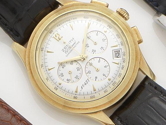 Zenith. An 18ct gold automatic chronograph wristwatchEl Primero No. 427/500  Case No. 30.1250.400, Movement No. 85303