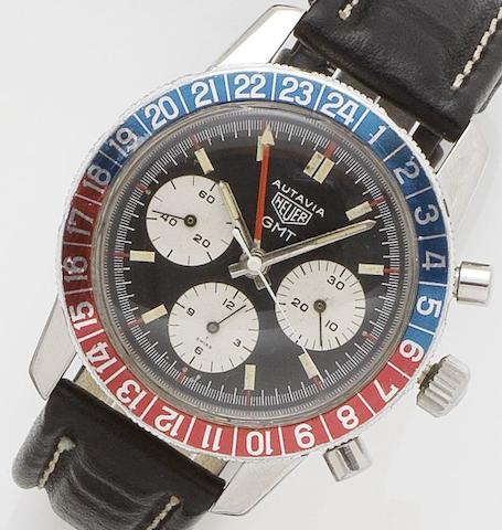 Heuer. A stainless steel manual wind chronograph wristwatch GMT, Ref.2446, 1960's