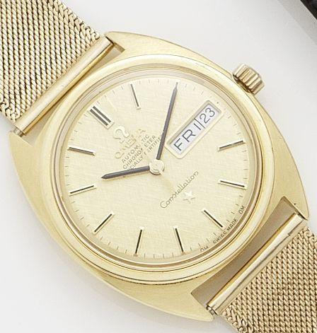 Omega. An 18ct gold automatic calendar bracelet watchConstellation, Movement No. 27667096, Case No. 1685455/6
