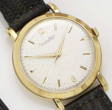 IWC. An 18ct gold manual wind centre seconds wristwatch 1950's