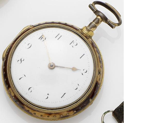 A mid 18th century pair case pocket watch