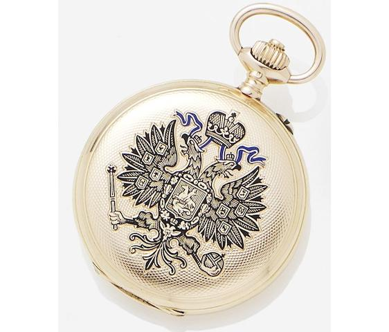 Pavel Bure. A 14ct gold and enamel keyless wind hunter pocket watchNo.236632, Circa 1909
