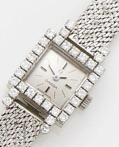 Omega. A lady's 18ct white gold and diamond set bracelet watch1980's