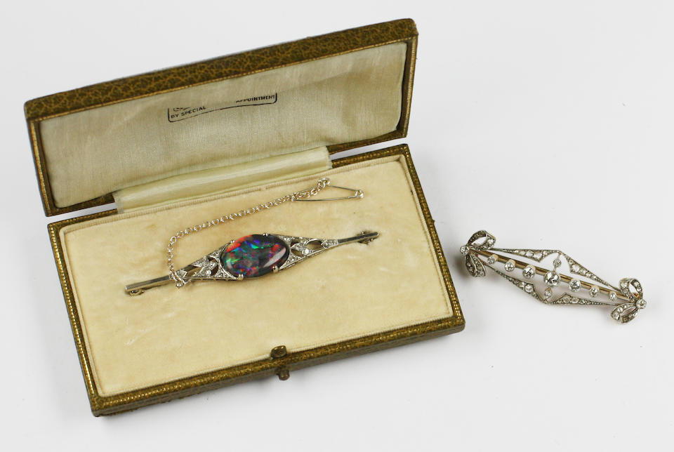 Two early 20th century diamond set brooches